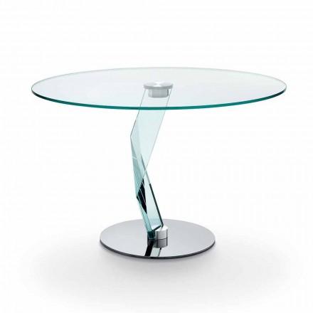 Runder Tisch in modernem Design aus extra klarem Glas made in Italy - Akka