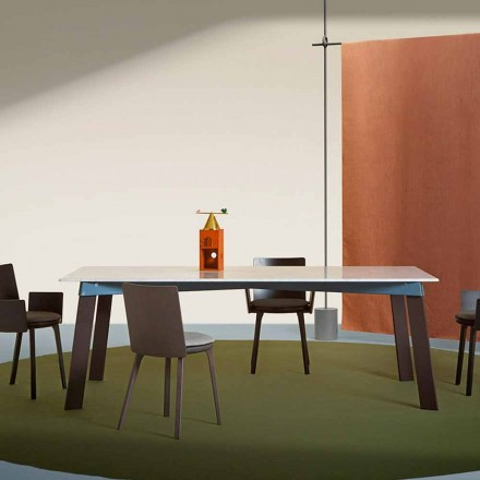 Moderner Wohnzimmertisch aus Stahl mit Design-Marmorplatte - Aronte