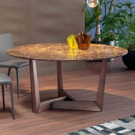 Runder Tisch mit Marmorplatte und Metallbasis made in Italy - Bonaldo