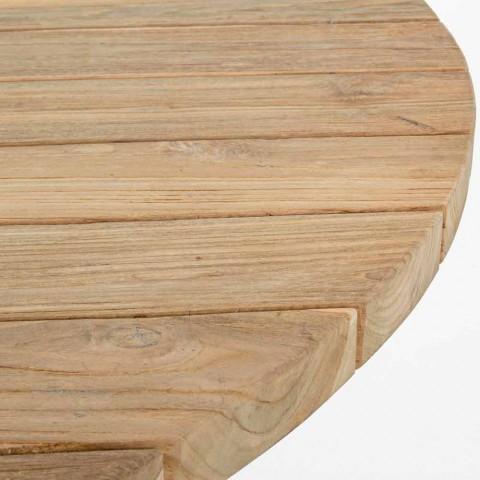 Runder moderner Tisch im Freien mit Homemotion - Ruben Teakholzplatte