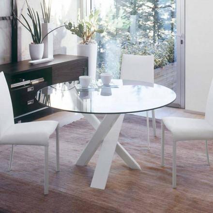 Design runder Tisch (gest. 160) mit Kristallplatte made in Italy Cristal