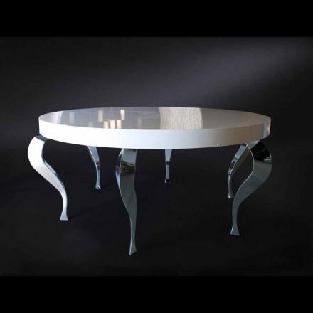 Runder Tisch im klassischen Stil aus MDF und Stahl Luigi