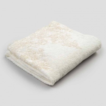Baumwoll Terry Handtuch Badetuch mit Rand in Leinenmischung und Spitze - Ginova