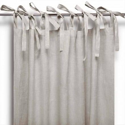 Vorhang mit Schnürsenkeln aus reinem Leinen in natürlicher Farbe Made in Italy - Daiana
