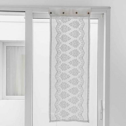 Weißer Vorhang aus hellem Leinen mit gotischer Baumwollstickerei - Gegia