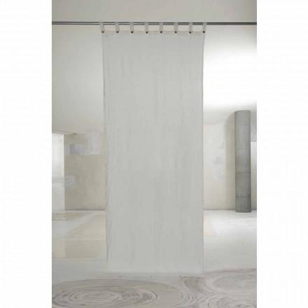 Weißer Leinenvorhang mit Knöpfen des Luxusdesigns - Geogeo