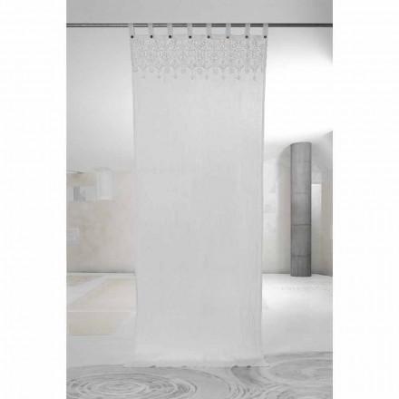 Weißer heller Leinenvorhang mit Spitze des eleganten Designs Made in Italy - Geogeo