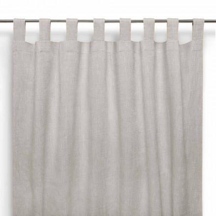 Vorhang mit Knopflöchern in Naturfarbe aus reinem Leinen Made in Italy - Feierlich