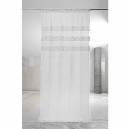 Weißer Leinenvorhang mit Organza und Stickerei, Design Made in Italy - Marpessa