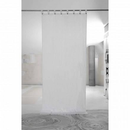 Weißer schwerer Leinenvorhang mit italienischen Luxusknöpfen - Gorgia