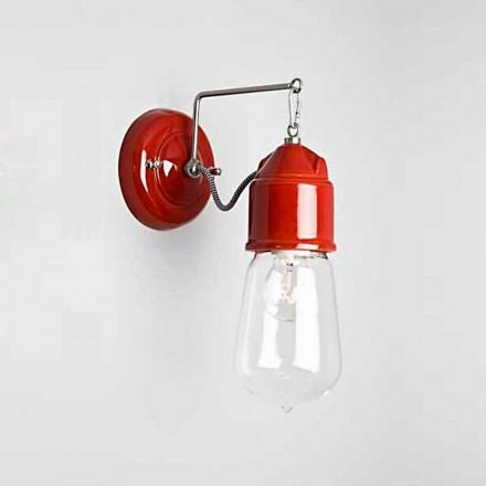 Toscot Novecento Wandlampe gerade mit Glas, hergestellt in Toscana