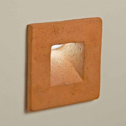 Toscot Square LED Wandleuchter aus Terrakotta für den Außenbereich