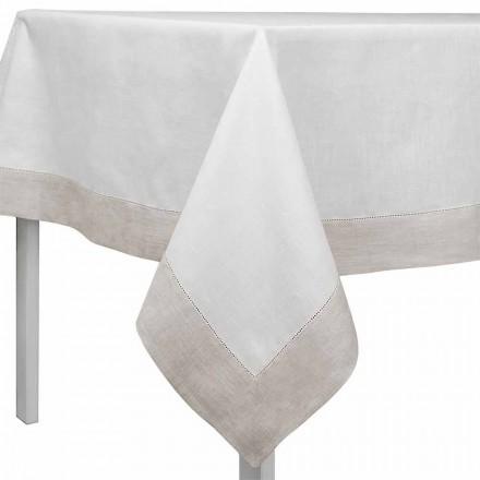 Rechteckige oder quadratische Tischdecke aus weißem und natürlichem Leinen Made in Italy - Chiana