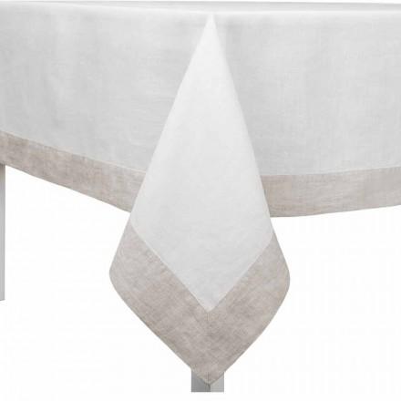 Tischdecke aus weißem und natürlichem Leinen, rechteckig oder quadratisch Made in Italy - Poppy