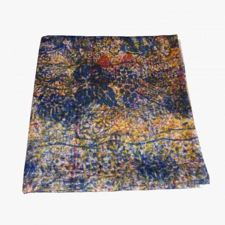 Hochwertige italienische handgefertigte Tischdecke mit handbedruckter Baumwolle