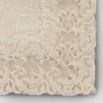 Beige Leinen quadratische Tischdecke mit handgefertigter Luxus Farnese Spitze - Kippel