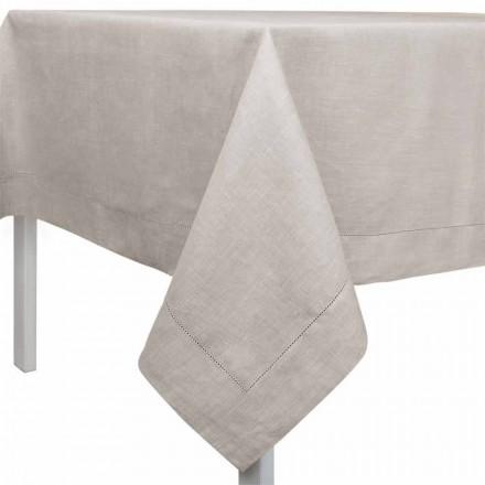 Rechteckige oder quadratische Tischdecke aus natürlichem Leinen Made in Italy - Chiana