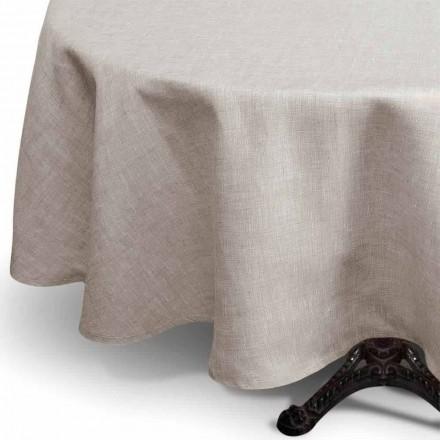 Runde Tischdecke aus reinem Leinen in natürlicher Farbe Made in Italy - Blessy