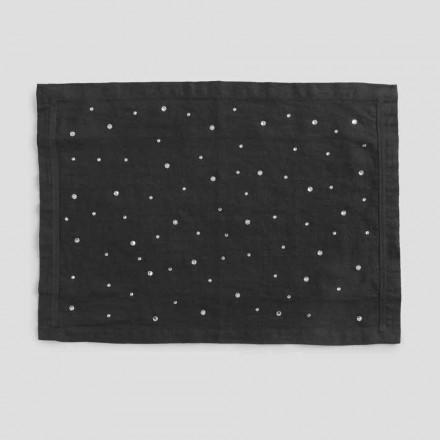 Tischset aus schwarzem Leinen mit Kristallen, italienisches Kunsthandwerk, 2 Stück - Nabuko