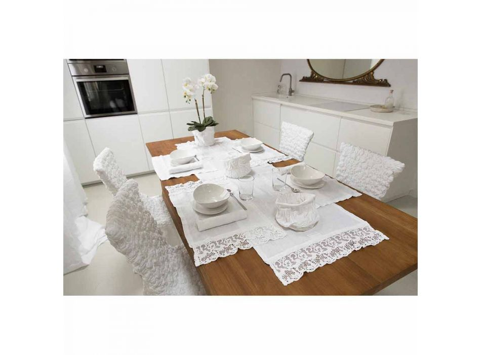 Tischset aus reinweißem Leinen mit Rahmen oder Spitze Made in Italy - Davincino