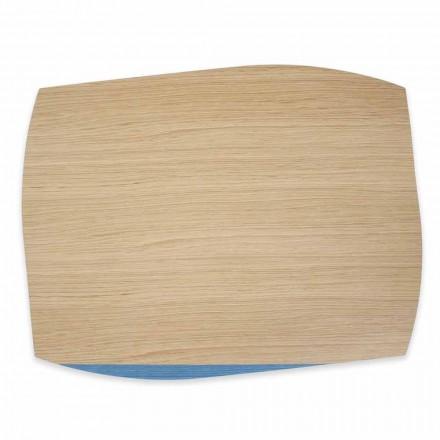 4 moderne rechteckige Tischsets aus Eichenholz Made in Italy - Abraham