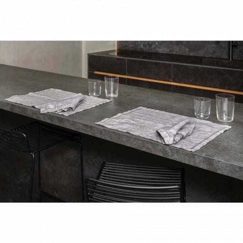 Amerikanische Frühstücks-Tischsets aus grauem Leinen mit Kristallen 2 Stück - Macanno