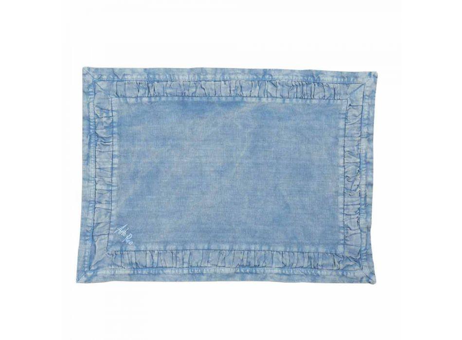 Amerikanische Tischsets aus blauem Leinen oder Rücken mit Prägung, 2 Stück - Milone