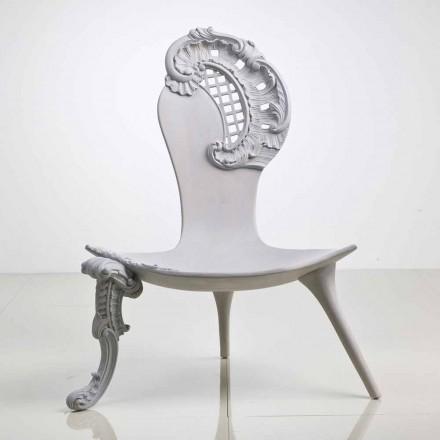 Handgeschnitzter Thron aus grauem massivem Eichenholz, Design, Leon