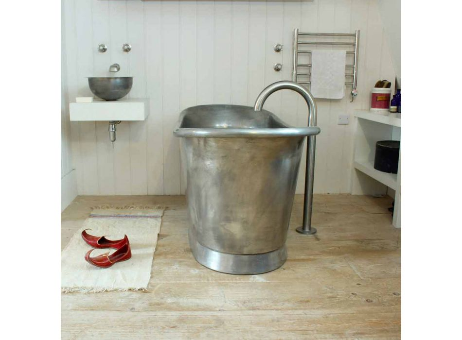 Badewanne freistehende Kupferbad fertig in Nickel Julia