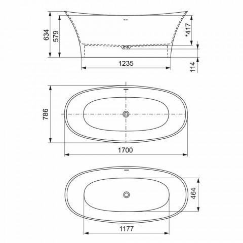 Freistehende Designwanne, Solid Surface Design - Look