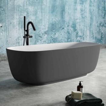 Freistehende Badewanne in zweifarbigem Grau, Mineralwerkstoff - Canossa