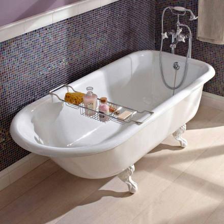 Vintage freistehende Design-Badewanne aus weißem Gusseisen, hergestellt in Italien - Marwa