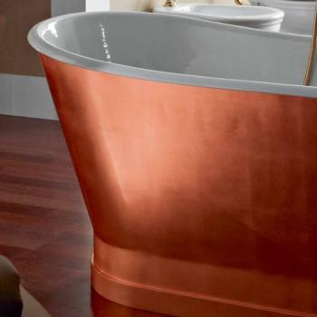 Freistehende Badewanne mit Gusseisen Außenhülle Kupfer Blatt Bass