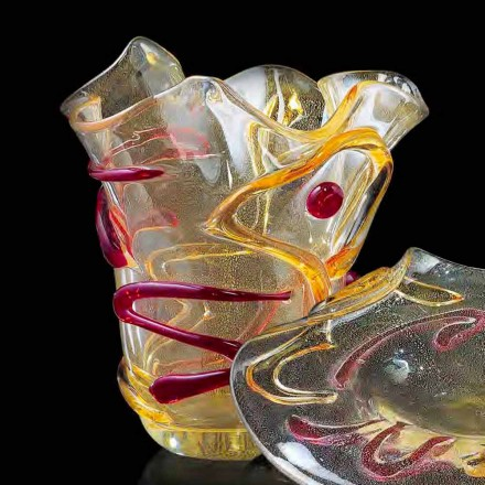 Gold, Rot und Bernstein Murano Glas Topf Made in Italy - Campisi