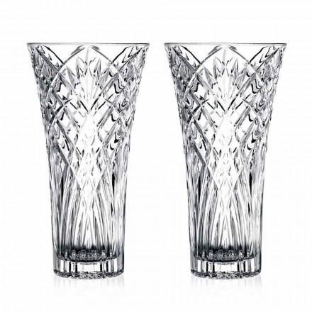 Vintage Design Vase in transparentem ökologischem Kristall 2 Stück - Cantabile
