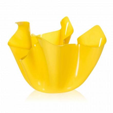 Gelbe Vase für drapiertes Design im Innen- und Außenbereich Pina, hergestellt in Italien