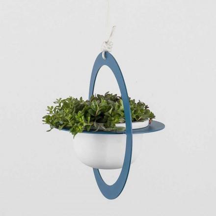 Hängende Blumenvase aus Stahl und Keramik Made in Italy - Leotta