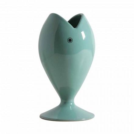 Moderne handwerkliche Keramik-Blumenvase Made in Italy - Seebrasse