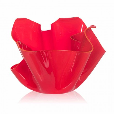 Rote Vase für drapiertes Design im Innen- und Außenbereich Pina, made in Italy
